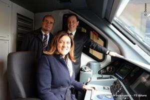 Il presidente della regione Umbria e l'Ad di Trenitalia a bordo del nuovo treno Jazz - Foto Gruppo Ferrovie dello Stato Italiane