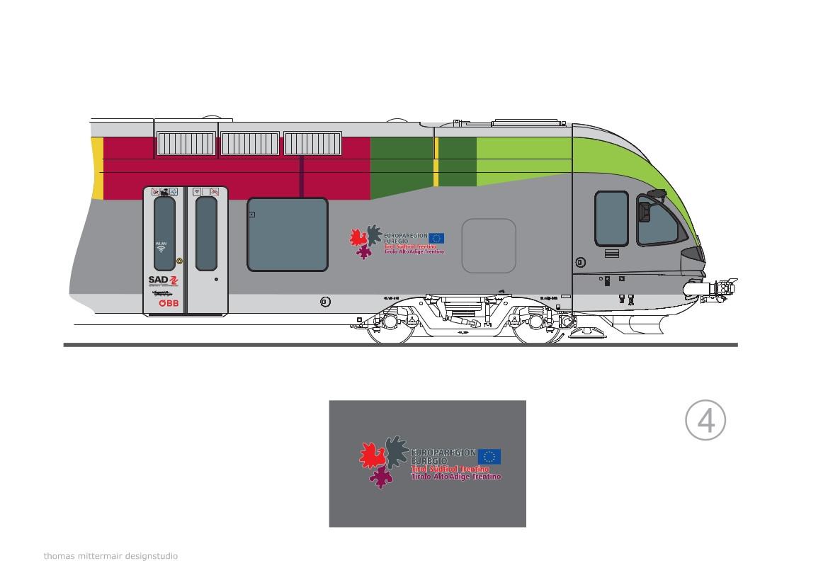 Il logo Euregio che caratterizzerà i servizi ferroviari transfrontalieri Italia-Austria