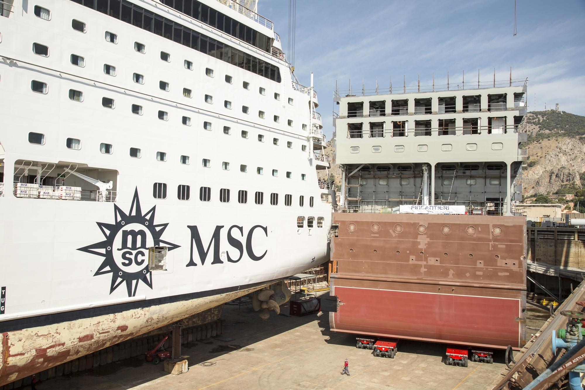 La MSC Armonia e il blocco aggiuntivo da inserire