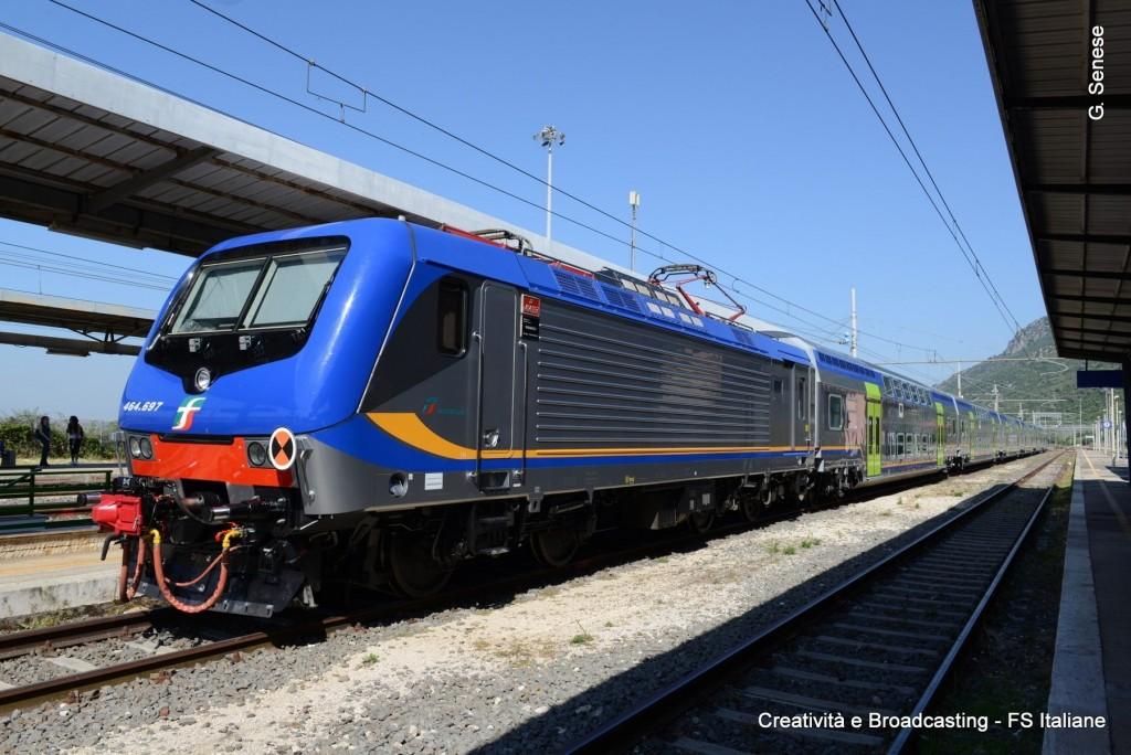 Il nuovo treno Vivalto in sosta nella stazione di Sezze - Foto Ferrovie dello Stato Italiane