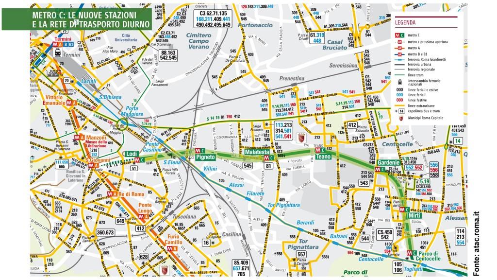 Mappa delle linee bus e prolungamento della metro C a Lodi - da atac.roma.it