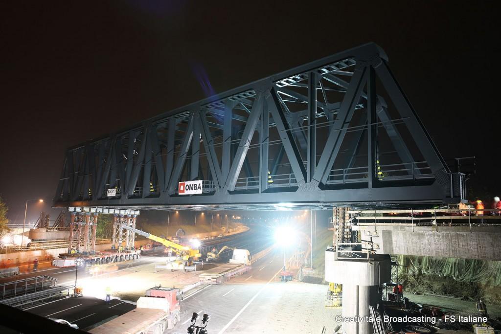 Il varo del nuovo ponte della Bologna-Venezia sulla A14 - Foto Gruppo FS Italiane