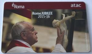 La RomeJUBILEECard con l'immagine di Papa Francesco
