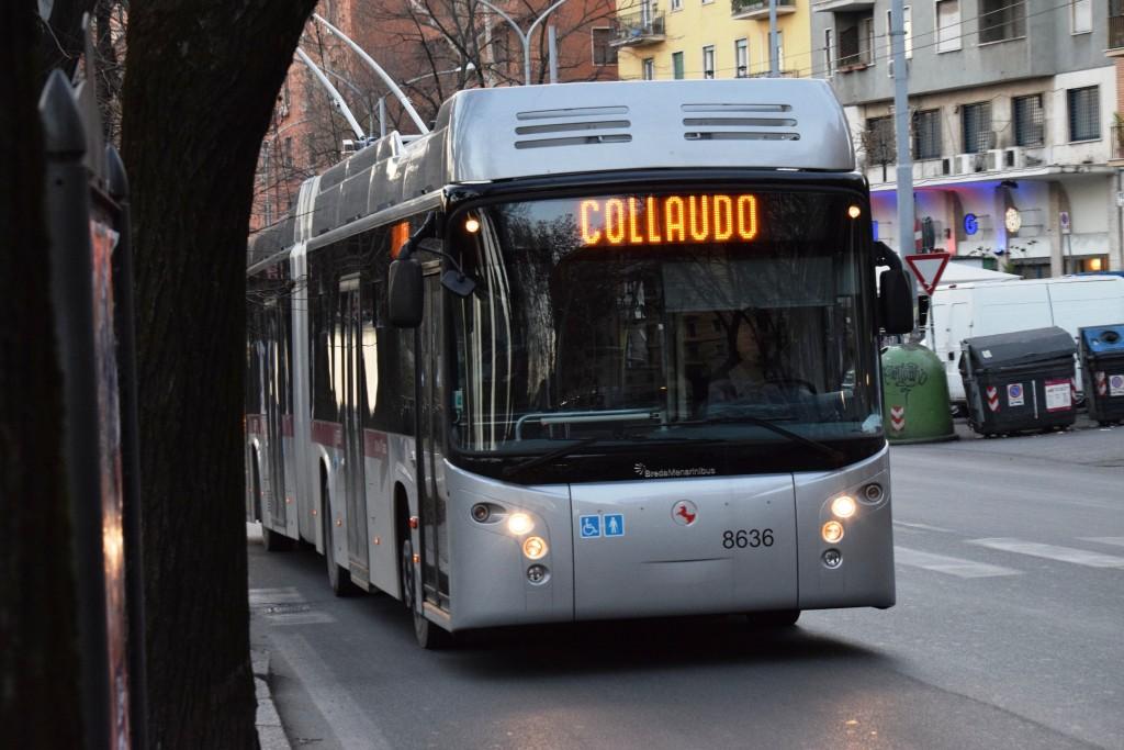 Il filobus 8636 in collaudo lungo via Nomentana a Roma - Foto Carlo Andrea Tortorelli