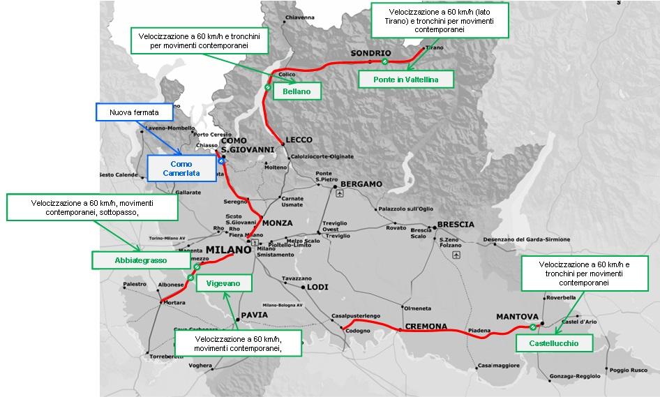 Gli interventi infrastrutturali lungo la rete lombarda